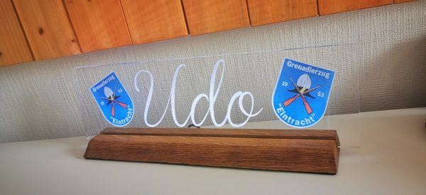 Acrylglas Schild auf Echtholzsockel, eine tolle Geschenkidee und sehr edel