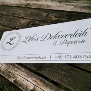 Lilos Dekoverleih - Firmenschild oder Werbeschild für Dienstleister Hochzeit